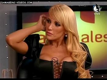 Argentina showgirl Gaby Mandato deep cleavage